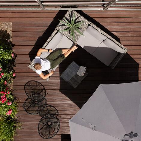salon de jardin sienne 4 places avec 2 canapes modulables 1 table basse en resine tressee coffre noir