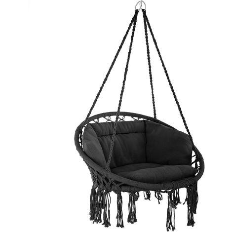 fauteuil hamac suspendu design 1 place exterieur interieur avec coussin confortable en coton noir