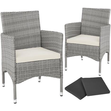 lot de 2 fauteuils de jardin acier avec 2 sets de housses lot de 2 chaises de jardin fauteuils exterieurs chaises exterieurs gris clair