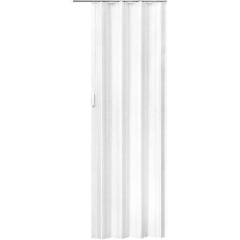 porte coulissante pliante pour interieur en pvc 80 cm x 203 cm blanc