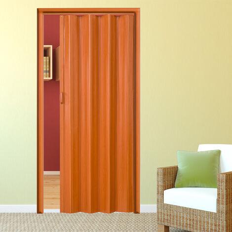 porte coulissante pliante pour interieur en pvc 80 cm x 203 cm bois chene