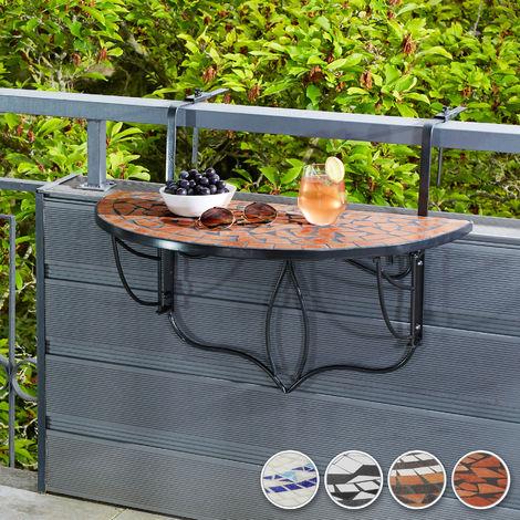 table de jardin table de balcon pliante suspendue en mosaique 76 cm x 65 cm x 57 5 cm marron noir