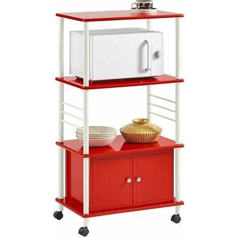 sobuy kitchen storage cabinet kitchen cart microwave shelf frg12 r red