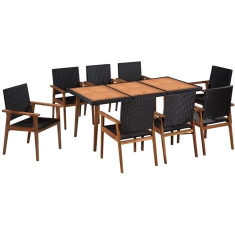 mobilier a diner de jardin resine tressee noir et marron 9 pcs