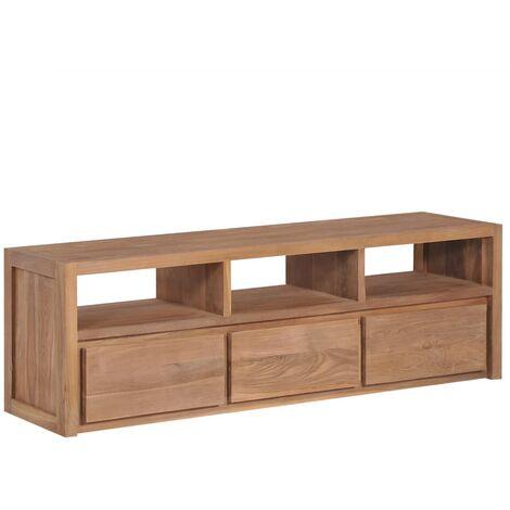 meuble tv bois massif de teck et finition naturelle 120x30x40cm