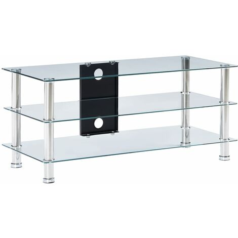 meuble tv verre trempe 90x40x40 cm transparent