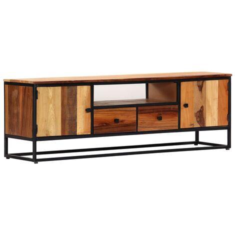 meuble tv 120 x 30 x 40 cm bois de recuperation massif et acier