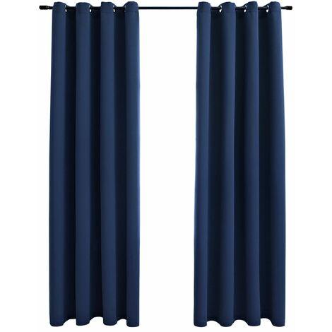 rideaux occultants avec anneaux en metal 2 pcs bleu 140x245 cm