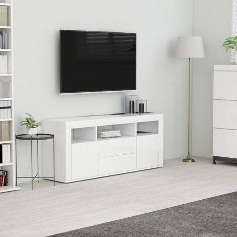 meuble tv blanc 120x30x50 cm agglomere