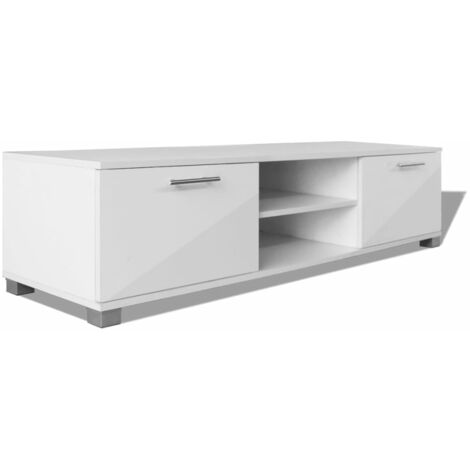 meuble tv blanc brillant 120x40 3x34 7 cm