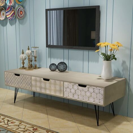 meuble tv avec 3 tiroirs 120 x 40 x 36 cm gris