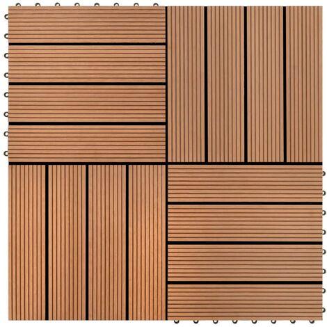 carreaux de terrasse wpc 30x30 cm 11 pcs 1 m2 marron