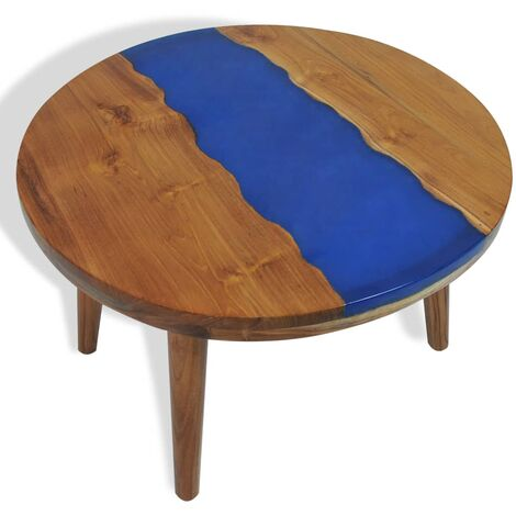 table basse teck resine 60x40 cm multicolore