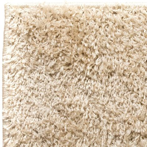 tapis a poils longs beige 80x150 cm