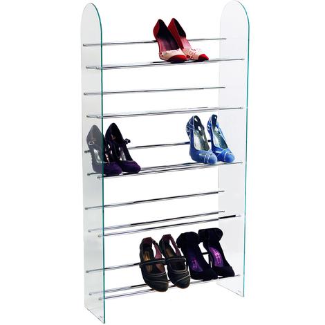 luxor 5 tier 15 pair shoe storage shelf rack glass chrome