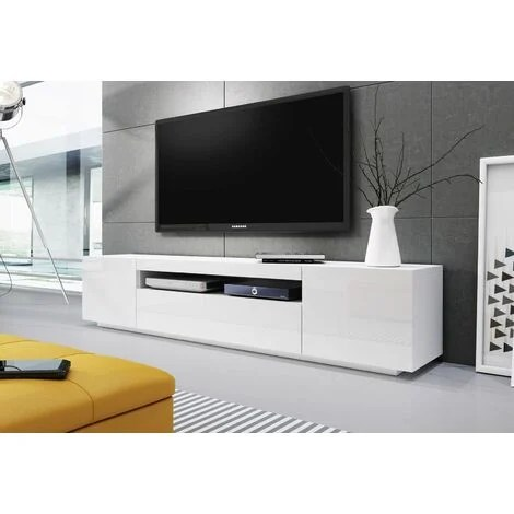 meuble banc tv blanc 2m00 moinschercuisine blanc