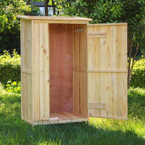 armoire de jardin porte simple bois rangement pour outils remise abri cabane jardinage equipement