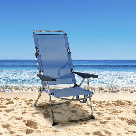 chaise de plage lit pliable solenny 4 positions bleu avec accourdoirs