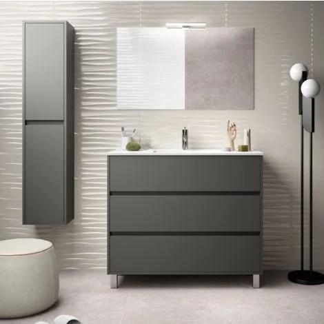 meuble de salle de bain sur le sol 100 cm gris opaque avec lavabo en porcelaine standard