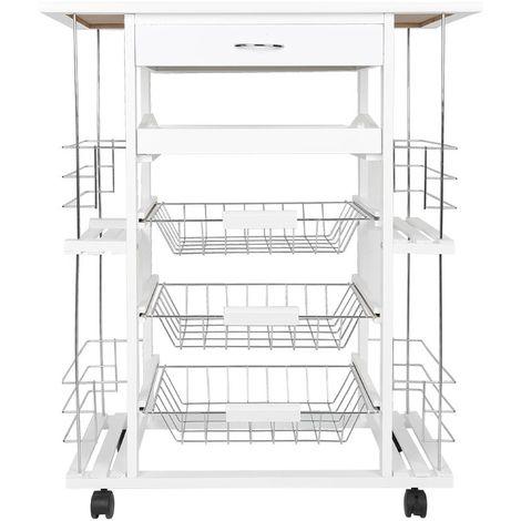 meuble rangement etageres desserte de cuisine avec roulettes 3 paniers 1 plateau 1 tiroir