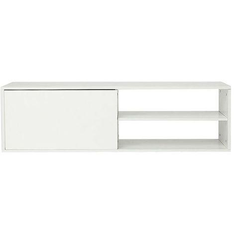 meuble tv scandinave blanc table de basse 2 niveaux etageres et 1 placards meuble de salon chambre 130x42x35cm env