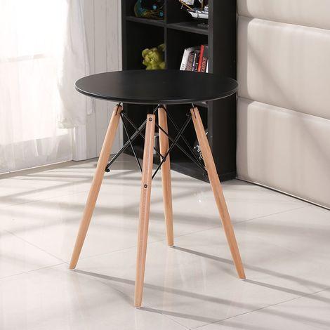 table salle a manger pour 2 4 personnes look scandinave cuisine ronde noir pieds en bois hetre massif o 80 cm