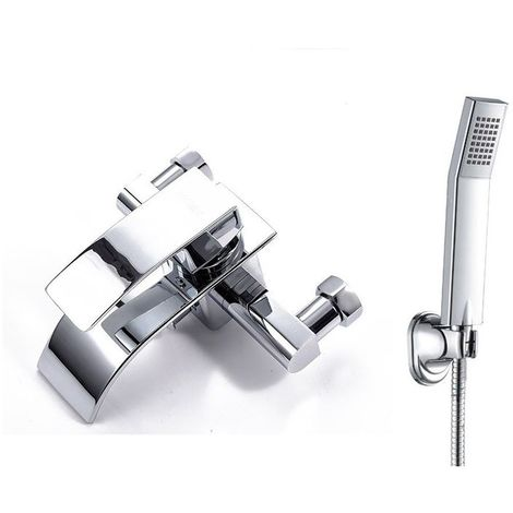robinet de bain carre mitigeur de baignoire cascade avec douche a main pour salle de bains douchette en laiton chrome style contemporain