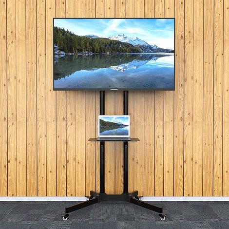 wihhoby support mural tv sur pied chariot reglable pour ecrans lcd led plasma de 32 a 65