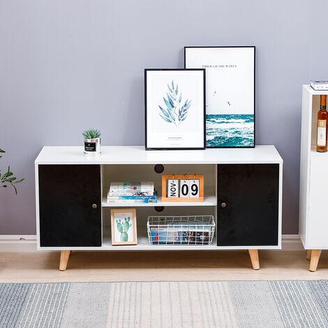 meuble tv scandinave 2 portes bois blanc et noir