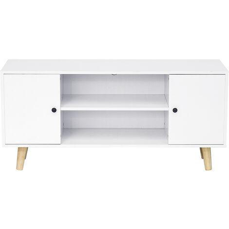 meuble tv scandinave decor blanc pieds en bois eucalyptus l 116 cm