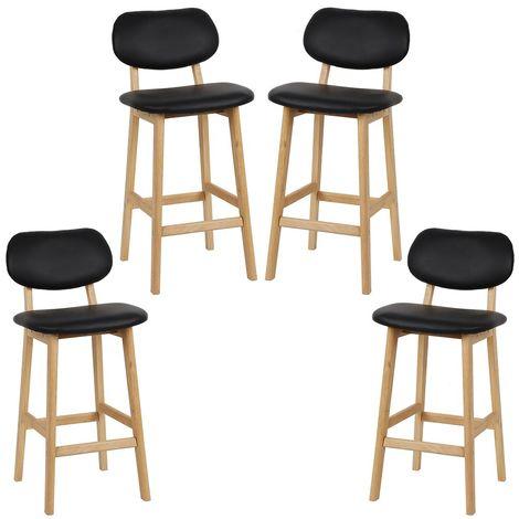 tabouret de bar lot de 4 tabouret de cuisine design en cuir artificiel et bois noir