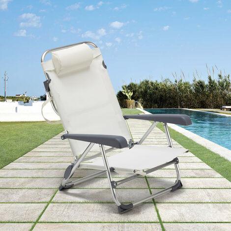 chaise transat de plage pliante avec accoudoirs mer aluminium gargano blanc