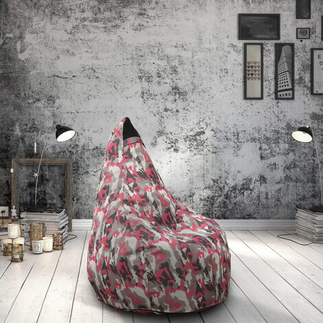 pouf fauteuil pouf sac a poire pour exterieur impermeable mimetiques made in italy summer camouflage couleur pinky
