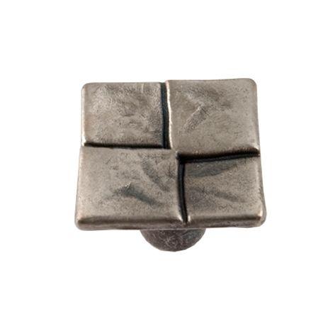 bouton de porte et de tiroir de meuble design en zamak argent de 20x20 mm 4kar bouton