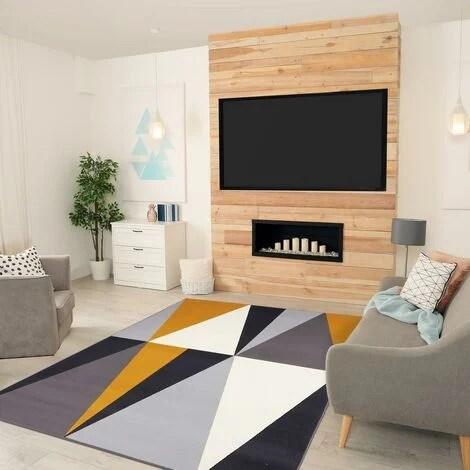 60x110 un amour de tapis petit tapis entree interieur tapis moderne pour salon geometrique jaune gris noir blanc