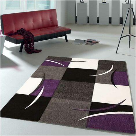 un amour de tapis diamond comma 60x110 cm petit tapis moderne design tapis entree et tapis chambre tapis violet gris noir creme