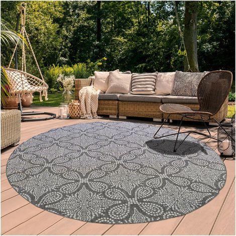 160x160 rond tapis exterieur 160x160 cm rond floron reversible gris salon adapte au chauffage par le sol