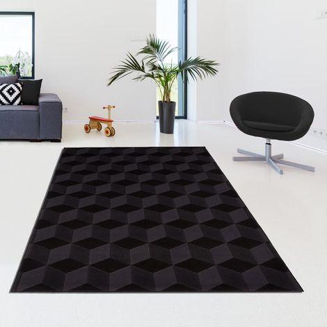 tapis design et moderne 60x110 cm rectangulaire bc cubika noir entree adapte au chauffage par le sol
