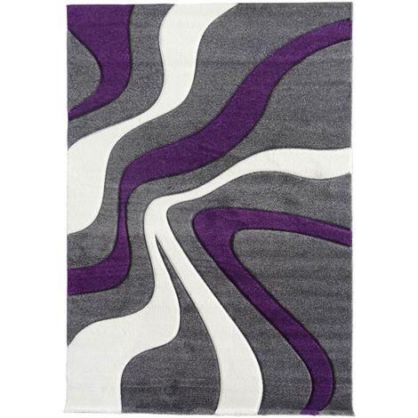 tapis design et moderne 60x110 cm rectangulaire diamond vagues violet entree adapte au chauffage par le sol