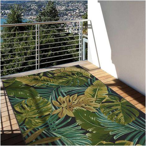 tapis exterieur 123x180 cm rectangulaire jungle ex vert terrasse jardin adapte au chauffage par le sol