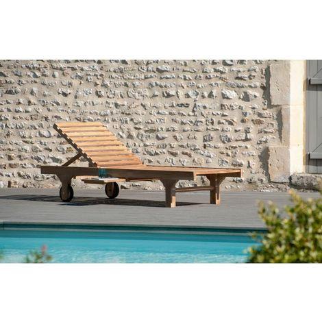 bain de soleil avec roulettes en bois teck marron