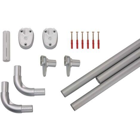 ridder universal corner shower curtain rod 90x90x2 5 cm silver