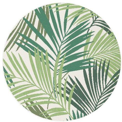 tapis tropical rond interieur exterieur o 160 cm