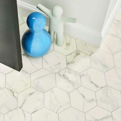 Sol Lino Imitation Carrelage Hexagonal Blanc Marbre 2 X 4m