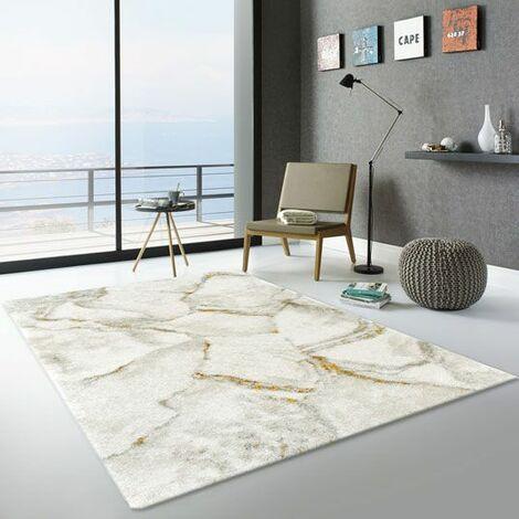 tapis de salon marbre blanc veinage couleur 80 x 150 cm