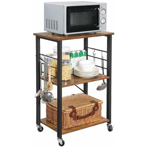 vasagle kitchen shelf on wheels serving trolley with 3 shelves microwave shelf for mini oven toaster metal frame with 6 hooks industrial design