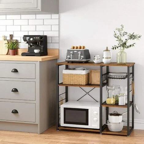 vasagle baker s rack industrial kitchen shelf with metal frame wire basket and 6 hooks multifunctional storage for mini oven spices and utensils