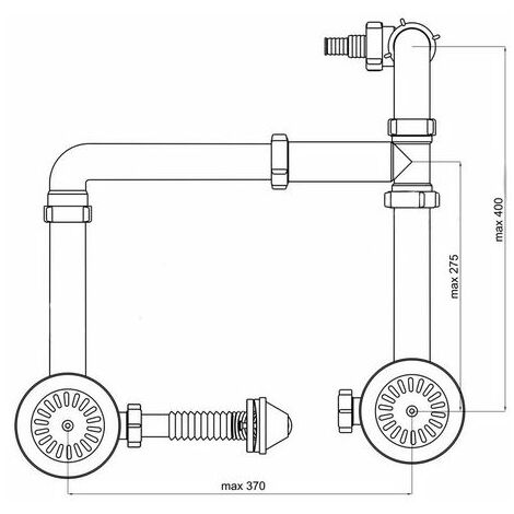 115mm stainless steel double bowl kitchen sink waste kit p trap sink strainer