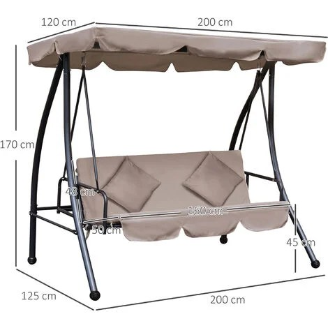 outsunny patio swing chair 3 seat garden bench 2 in 1 convertible lounger outdoor