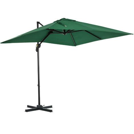 outsunny offset rotating patio parasol cantilever sun umbrella w cross base green